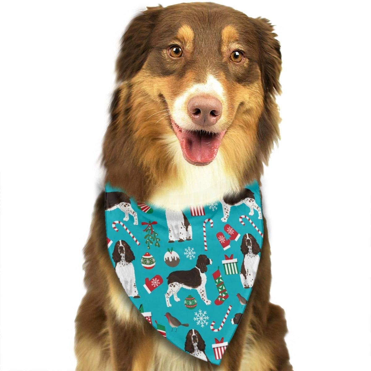 Hipiyoled English Springer Spaniel Floral Christmas Bandana Cool Novelty Dog Cat Bandana Neckchief Fashion Accessories