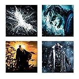 Batman Set A schwebend, 4-teiliges Film Bilder-Set jedes Teil 29x29cm, Seidenmatte Optik auf Forex Fine Art, moderne Optik, UV-stabil, wasserfest, Kunstdruck für Büro, Wohnzimmer, XXL Deko Bild
