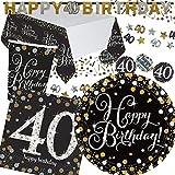 45-teiliges Partyset * SPARKLING CELEBRATION * für den 40. Geburtstag // mit Teller + Becher + Servietten + Tischdecke + Konfetti + Girlande // Party Set Mottoparty Motto Vierzig