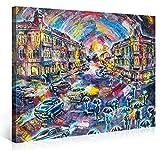 Premium Kunstdruck Wand-Bild – Abstract City in Watercolour Style - 100x75cm - Leinwand-Druck in deutscher Marken-Qualität – Leinwand-Bilder auf Holz-Keilrahmen als moderne Wanddekoration