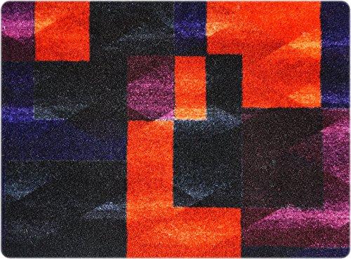 deco-mat Designer Fussmatte für Haustür, Flur, Innen und Aussen | Fussmatten Rutschfest und waschbar | Praktische Schmutzfangmatte - Fußabtreter | Fussabstreifer - VIOLETT SCHWARZ ORANGE 50 x 70 cm