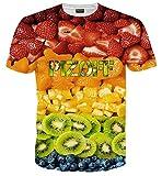Pizoff Unisex Skelett Druck T-Shirt - mit coolem Rock 3D Druckmuster beiläufige T-Stücke Obste AL067-45-XXL