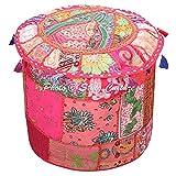 Stylo Culture Pouf Sitz Sitzsack Stoff Osmanischen Pouf Cover Rosa ethnische Bestickt Patchwork Cotton Traditionellen runden Hocker Ottoman Cover (18x18x13 Zoll) 45 cm