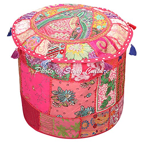 Stylo Culture Pouf Sitz Sitzsack Stoff Osmanischen Pouf Cover Rosa ethnische Bestickt Patchwork...