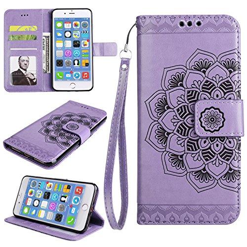 Für iPhone 7 Plus 5.5Zoll Flip PU Leder Brieftasche, Herzzer Klassisch Jahrgang [Mandala Blume Muster] Tasche Handy Case Schutz Hüllen im Bookstyle Handyhülle Ledertasche mit Stand Funktion Kartenfäch Lila