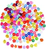 Shappy 200 Pieces Resin Buttons Assorted Color Button Small Buttons Lot for Sewing Craft Scrapbooking and DIY Handmade Ornament
