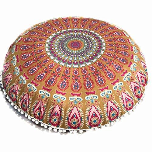 Huhu833 Große Mandala Boden Kissenbezug, Große Mandala-Boden Kissen Runde Bohemian Meditation Kissenbezug 80 * 80cm (B)