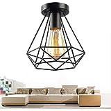 Plafonnier Industrielle Retro en Métal Cage Fer Noir, Plafonnier Vintage lustre Suspension Luminaire E27 Luminaire suspendu p