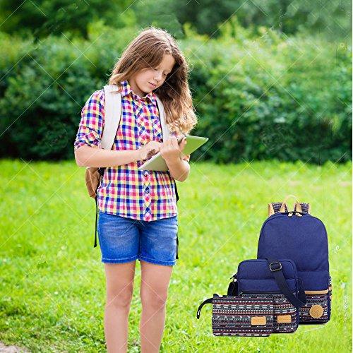 SymbolLife Rucksack damen Herren Teenager Groß Schulrucksack Casual Daypack Backpack Rucksäcke Laptop Rucksack Canvas Reisetasche mit Mäppchen für Universität Outdoor Sport Freizeit 30 X 43 X 14cm, Wa Dunkel Blau(A3-3pcs)