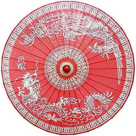 NHD-Tang dynasty-stile retrò ombrello, ombrello del polmone Su Ching Cheung, cinese stile blu rosso , red