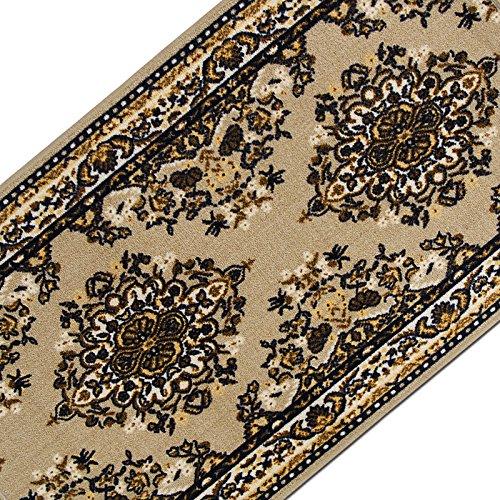 Teppichläufer mit klassischem Design in brillianten Farben | hochwertige Meterware, gekettelt | Kurzflor Teppich Läufer | Küchenläufer, Flurläufer (80x500 cm)