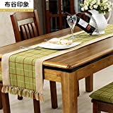 ZQ@QX Camera da letto beige stile europeo letti grafico sala da pranzo soggiorno decorazione tessuto design tavolo runner, verde, 38 * 180CM