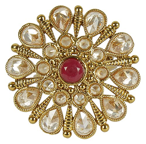 MUCHMORE Awesome Traditional Fashion Gold Tone Indian Crystal Ring Partywear Jewellery