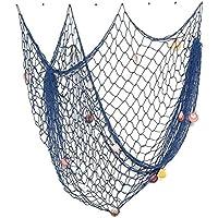 Náutico decorativos de pescado neto estilo mediterráneo con conchas marinas para decoración del hogar 200 cm x 150 cm azul