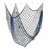 Nautical Pesce decorativo Stile Mediterraneo netto con conchiglie di mare per la decorazione domestica 200 centimetri x 150 cm Blu
