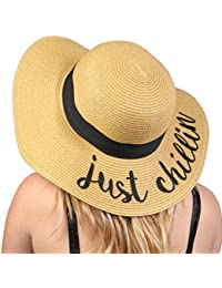 9a964d654d5 Funky Junque Women s Bold Cursive Embroidered Adjustable Beach Floppy Sun  Hat - -