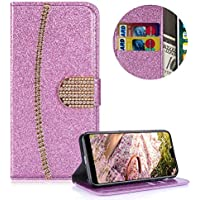 Lila Strass Brieftasche für Huawei P20,PU Leder Handyhülle für Huawei P20,Moiky Luxus 3D Diamante Magnetisch Diamant Folio Kunstleder Stand Schutzhülle