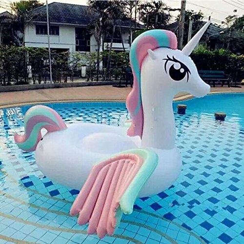 SHASHA Riesiges Aufblasbares Spielzeug 2018 Neu Design Riese Regenbogen Einhorn Pool Schwimmer Pegasus Frauen Schwimmen Breit Aufblasbar Ride-on Wasser Spielzeug Piscina