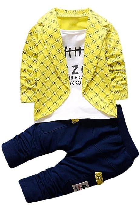 Nwada Kinderkleidung Junge Anzug Kinder Vintage Kleidung Set Kariert Hemd und Hosentr/äge Hose und Fliege Bekleidungsset