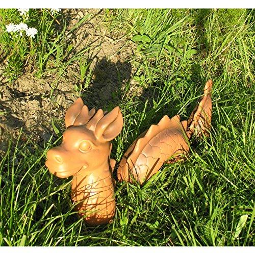 Lustiger Garten Deko Drachen und Wurm im Set Figur Polystone Fantasy - 2