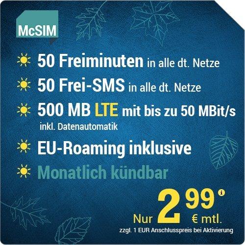McSIM LTE Mini 500 [SIM, Micro-SIM und Nano-SIM] monatlich kündbar (500 MB LTE mit max. 50 MBit/s inkl. Datenautomatik, 50 Freiminuten, 50 Frei-SMS, EU-Roaming inklusive, 2,99 Euro/Monat)