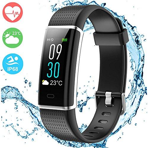 Fitness Trackers mit Pulsmesser, Morden Fitness Armband Schrittzähler zeichnet Schritte, Distanz, Kalorien, Aktivitätszeit, Smartwatch mit Schlafanalyse, verbundenes GPS, Anruf- und Textalarme, Farbdisplay, Wetter, IP68