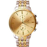 Souarts Herren Armbanduhr Gold Silber Farbe Edelstahl Schwarz Weiss Zifferblatt Analog Quarzuhr Herrenuhr mit Batterie