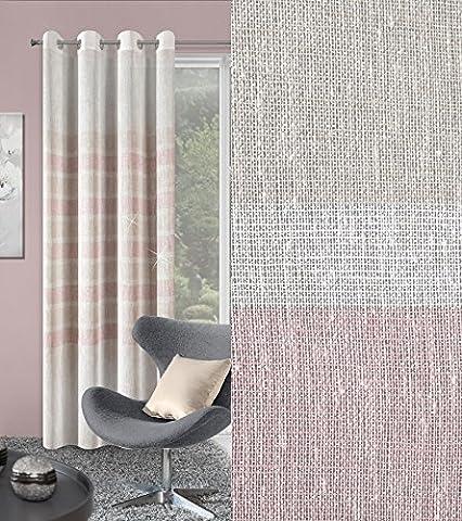Vorhang Ösenvorhang 140x250 cm Sunny creme rosa Wohnzimmer Küche Streifen Lichtundurchlässigkeit: ungf. 70% Leinen