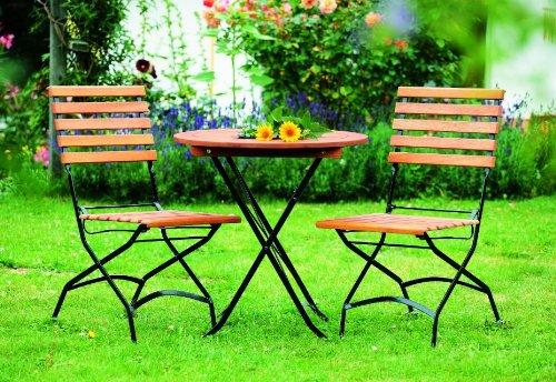 Klapp - Bistroset Schlossgarten 3-teilig, Stahl schwarz + Eukalyptus, FSC®-zertifiziert - Schwarz Klapp-gartenmöbel