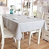 Leinendecke Tischdecken,Saebye Tischdecke abwaschbar schmutzabweisend Farbe Größe wählbar(grau,140x200)