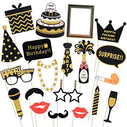 LUOEM Alles Gute zum Geburtstag Photo Booth Requisiten Glitter Geburtstag posiert Requisiten auf Einem Stock Birthday Party Supplies, Packung mit 20