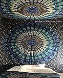 Blau Farbe Thema Twin Größe Mandala Wand Gobelin, Tapisserie, Psychedelic indische Pfau, Bohemian, zum Aufhängen Blütenmuster Bett, Hippie Tapisserie von raajsee (54 84)
