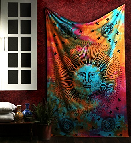 RAJRANG Tapiz Hippie, Psychedelic Tapestry Mandala Wall Hanging, Tapices Sol y Luna Colgar en la Pared, Cubierta del Sofá