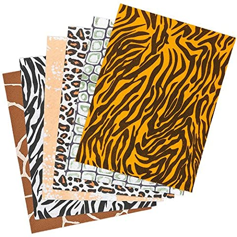 Safari Animal Print Felt Sheets Craft Kits for Children to Decorate Summer Arts and Crafts Cards & Collages (Pack of 12)