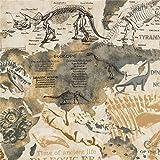 Beigefarbener Stoff mit Dinosaurierskeletten und Weltkarte