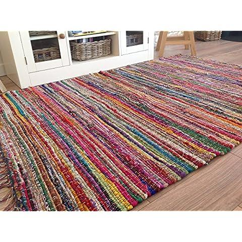 Commercio equo Multicolore chindi Rag Tappeto 100cm x (Riciclata Rag Tappeti)