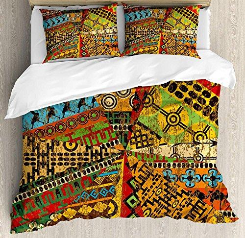 Afrikanische 3-teilige Bettwäsche Set Bettbezug Set, Grunge Collage mit ethnischen Motiven Tribal alte traditionelle Kunst verzierten geometrischen, 3-tlg Tröster / Qulit Cover Set mit 2 Kissenbezügen -