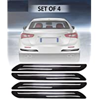 STAR PRINSE Car Bumper Protector Guard with Double Chrome Strip for Car 4Pcs - Black (for All Cars)