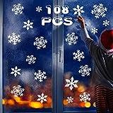 VZATT Weihnachten, Fensterbilder Weihnachten, DIY fensterbilder Schneeflocken Aufkleber Kinder, PVC Fensteraufkleber Weihnachten Weiß, Winter Dekoration für Türen, Schaufenster, Vitrinen, Glasfronten