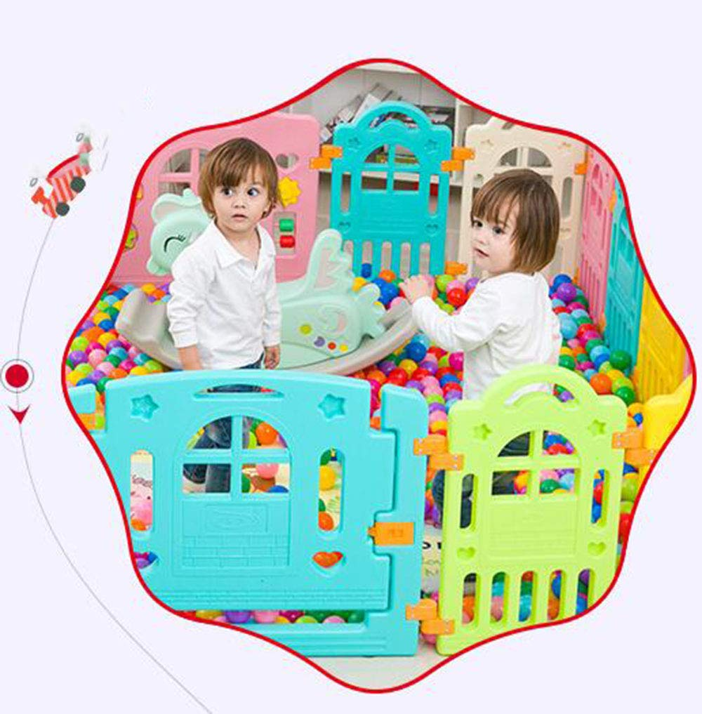 Baby Playpen with Colorful Panels, Upgraded Safety Lock, Changeable into Octagon, Rectangle, Square, Triangle as Infant & Toddlers Activity Center  AA-SS-Playpens