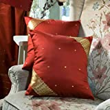 Rust - Set of 2 Decorative handcrafted Sari European Pillow Cover, Euro Sham 26 X 26 by Indian Selections