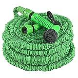 Juskys Flexibler Gartenschlauch Aqua mit Handbrause | 45 m | Adapter 1/2 Zoll & 3/4 Zoll | grün | Wasserschlauch...