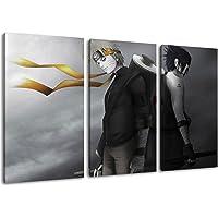 Naruto und Sasuke Motiv, 3-teilig auf Leinwand (Gesamtformat: 120x80 cm), Hochwertiger Kunstdruck als Wandbild. Billiger…