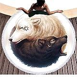 Étnico Yinyang Lobos redondas Toallas de playa con borlas India Mandala Blanco y Negro Wolf...