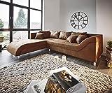 DELIFE Couch Cadiz Braun 261x204 Antik Optik gerundete Form mit Keder Ecksofa