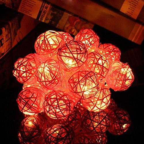 Garten Dekoration 20 LED Farbe Rattan Ball String Lichterketten Led Strip Für Schüsseln Schwimmbad Aquarium Party Beige Blau Grün Orange Pink Lila Rot Gelb