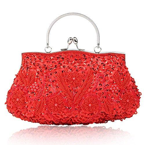 Sacchetto Handmade di Baoding del ricamo del vestito da cerimonia nuziale delle signore della borsa Red