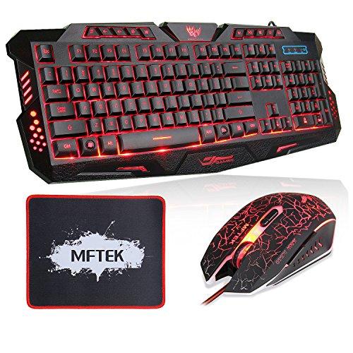 MFTEK M200 Gaming Tastatur mit 7 Tasten Maus und Maus Pad (USB Verdrahtet, 3 Farben Rot/Blau/Lila Hinterleuchtet, QWERTY) Schwarz