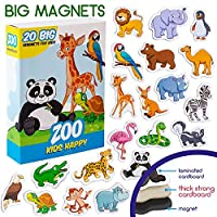 MAGDUM Happy ZOO animal magnets for kids -real LARGE fridge magnets for toddlers- Magnetic EDUcational toys baby 3 year old baby LEARNing magnets for kids- Kid magnets THEATER-jungle animal magnets