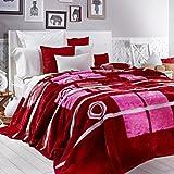 Sancarlos - Manta rosa y fucsia wall fucsia - microfibra estampada - pelo antideslizante - varias tallas disponibles